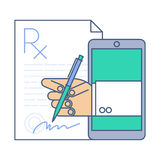 Doctor signing a prescription rx blank by phone. Online medicine Stock Photos