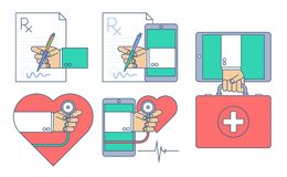 Medical outline vector concept illustration set. Doctor signing a rx prescription document. First aid by internet. Heart pulse examination by phone. Vector Royalty Free Stock Images