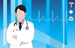 Doctor silhouette on blue caduceus Stock Photo