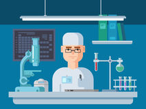 Doctor Sits in Laboratory, Healthcare and Medical Research. Doctor sits in the laboratory. Healthcare and medical research flat Vector illustration Stock Photos
