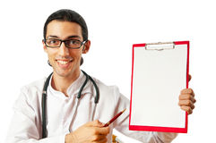Doctor sitting at the desk Royalty Free Stock Image
