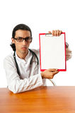 Doctor sitting at the desk Stock Image