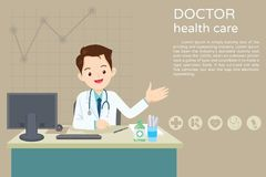 Doctor sitting at the table. Doctor present sitting at the table in hospital, infirmary, clinic.healthcare concept.Character professional physician on workplace Stock Photos