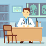 Doctor sitting at the table in medical vector healthcare concept Royalty Free Stock Image