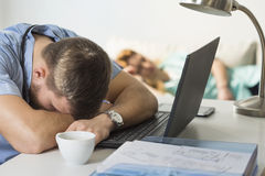 Doctor sleeping on the desk. Tired overworked doctor sleeping on the desk Stock Images