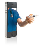 Doctor on Smart Phone. Medical professional online service on mobile phone Royalty Free Stock Photos