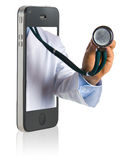 Doctor on Smart Phone. Medical professional online service on mobile phone Royalty Free Stock Photography