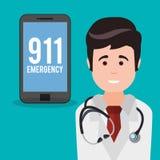 Doctor smartphone 911 emergency. Illustration eps 10 stock illustration