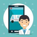 Doctor with smartphone medical services app. Vector illustration design Royalty Free Stock Photos