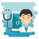 Doctor with smartphone medical services app. Vector illustration design Stock Photo