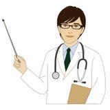 Doctor sonriente que sostiene un palillo del indicador Fotos de archivo