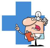 Doctor speaking over a blue cross. Doctor holding a clipboard over a blue cross Royalty Free Stock Photography