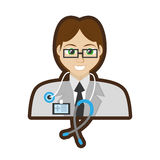 Doctor specialist stethoscope and id card Royalty Free Stock Images