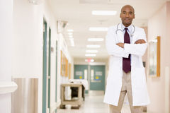 Doctor Standing In A Hospital Corridor Royalty Free Stock Images