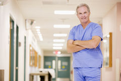 Doctor Standing In A Hospital Corridor Stock Photography