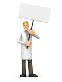 Doctor standing with placards on the picket Stock Photos