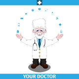 Doctor standing spread wide hands apart Stock Photography