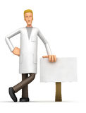 Doctor stands beside the blank board Stock Photos