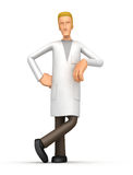 Doctor stands next to a blank place vector illustration
