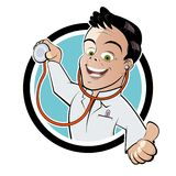 Doctor with stethoscope. Cartoon illustration of happy doctor with stethoscope on button; isolated on white background Stock Photos