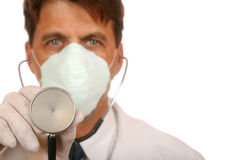 Doctor with Stethoscope. Doctor in Lab Coat and Mask wth Stethoscope stock images