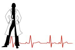 Doctor With Stethoscope. A clip art illustation featuring the silhouette of a doctor wearing long white coat and stethoscope, with an ekg line at his/her feet Stock Photos
