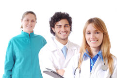 Doctor and stethoscope. Young doctor with stethoscope smiles and look in camera Royalty Free Stock Image