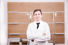 Doctor with stethoscope arround his neck in hospital recovery ro. Om. Medicine and healthcare Royalty Free Stock Image