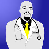 Doctor with stethoscope on blue background Royalty Free Stock Photography