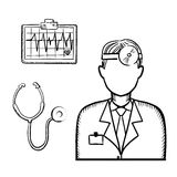 Doctor with stethoscope and cardiogram Stock Photography