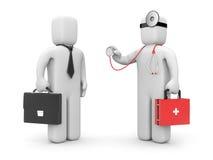 Doctor with stethoscope examine businessman Royalty Free Stock Image