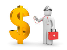 Doctor with stethoscope examine dollar Royalty Free Stock Photo