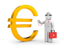 Doctor with stethoscope examine euro Royalty Free Stock Images