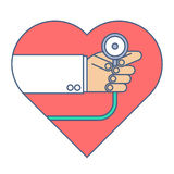Doctor with a stethoscope exams heart pulse. Flat line illustrat. Doctor with a stethoscope exams heart pulse. Medicine and health flat line concept illustration Royalty Free Stock Images