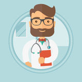 Doctor with stethoscope and file. Caucasian hipster doctor with stethoscope and a file in hospital. Male doctor carrying folder of patient or medical Royalty Free Stock Photos