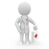 Doctor with stethoscope and first aid kit Stock Images