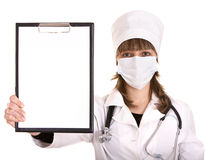 Doctor with stethoscope and folder. Stock Photos