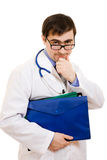 Doctor with stethoscope and folder Stock Image