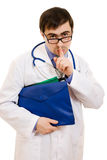 Doctor with stethoscope and folder Stock Photography