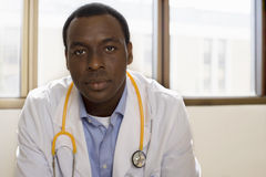 Doctor with stethoscope, front view, portrait Royalty Free Stock Photos
