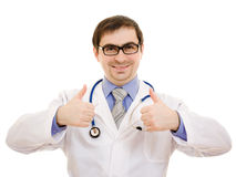 A doctor with a stethoscope and glasses Stock Photography