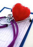 Doctor stethoscope heart on your desktop 3D Stock Photos