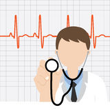 Doctor with stethoscope and heartbeat. Illustration Stock Illustration