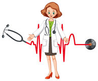 Doctor with stethoscope and heartbeats Royalty Free Stock Photography