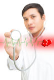 Doctor With Stethoscope And Hearth Wave. Doctor With Healthy Heart Concept Royalty Free Stock Photos