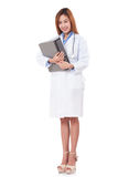 Doctor with a stethoscope and holding a clipboard. Royalty Free Stock Photos