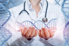 A doctor with a stethoscope is holding a dna line in her hands with the same chains on each side. The concept is the impact of. Modern medicine on future stock photo