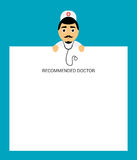 Doctor with stethoscope holds in hands tablet sheet. Modern flat design. Stock Images