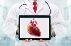 Doctor with stethoscope in a hospital. Heart on the tablet Stock Photos