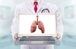 Doctor with stethoscope in a hospital. lungs on the laptop monitor Stock Photography